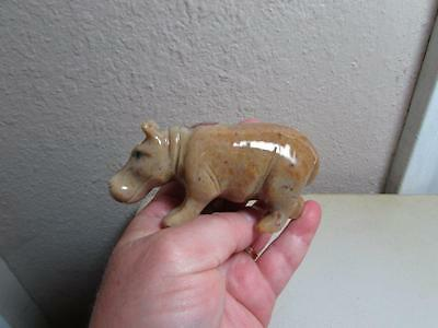 """Hippopotamus, Hand carved Marble from the Andes. Rich Colored Stone """"HIPPO"""""""