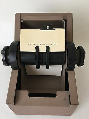 Vintage Rolodex Zephyr Metal Roll Top Rotary Card File Organizer with Cards (BC)