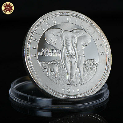 WR 2014 Silver Zambia African Wildlife Elephant 999 Silver 1000 Kwacha Coin Arts