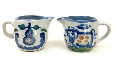 Lot of 2 M.A. Hadley Pottery Ceramic Creamers - Fruit + Farm Cow Small Pitchers