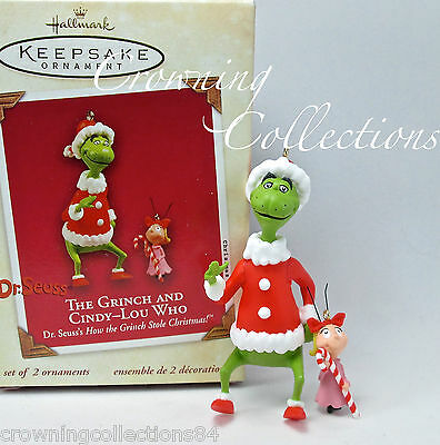 2003 Hallmark The Grinch and Cindy Lou-Who Ornament Set How Stole Christmas &