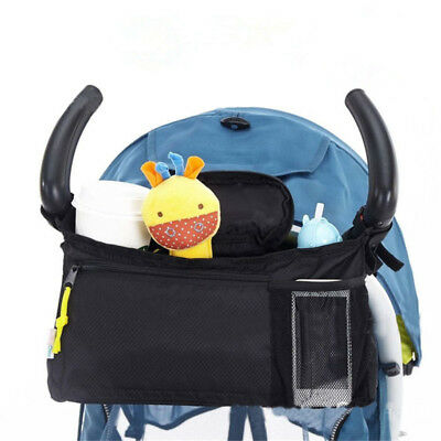 Stroller Organizer Bag 2 Cup Holders Storage With Mesh Cell Phone Pocket Black