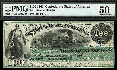 $100 1861 Confederate States of America T-3 Montgomery Note ONLY 3 FINER W/ PMG