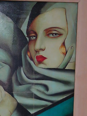 Art Deco Style ! Woman  Driving  Cubist Inspired Framed Oil Painting