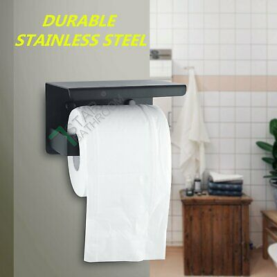 Black Toilet Paper Roll Holder Shelf Storage Cover Hook Ring Rack Hanger Wall