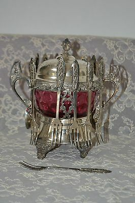 Antique Victorian Silver Plated Spoon & Fork Cranberry Glass Bowl Spoon Holder
