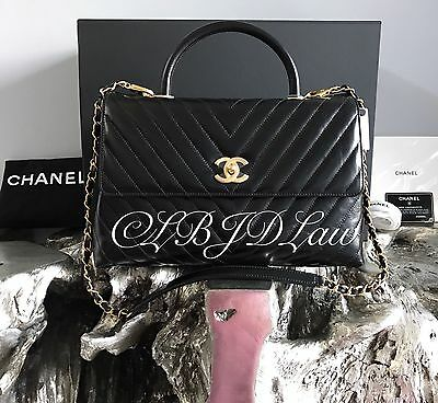 50d29cab6923bd NWT CHANEL Black CoCo Handle Bag GOLD HW LARGE Chevron Glazed Calf Caviar  NEW
