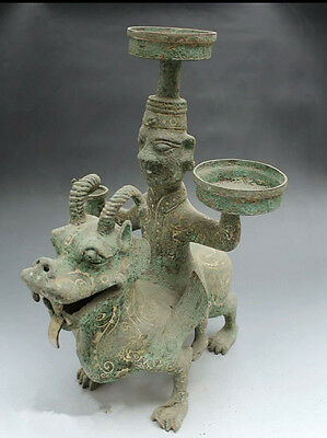 antique   Chinese ancient bronze gold silver monoceros unicorn oil lamp.