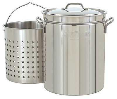 Seafood Steamer Stainless Steel Stock Pot 44 Quart Steam Boil Fry Basket Crabs