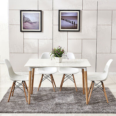 Eiffel Style Dining Table and 4 Chairs Solid Wood Legs Home Office Set White