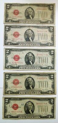 5 Antique Unique Two-Dollar Bill, 1928G.1928G.1928G.1928D.1928D. RED SEAL