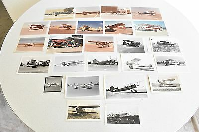 Vintage Mixed lot of 25 Pre-WWII Airplane Photos B&W Color Planes Aviation WWII