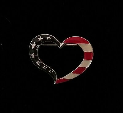 Avon Heart Shaped Pin Fourth of July Red, White & Blue New in Box