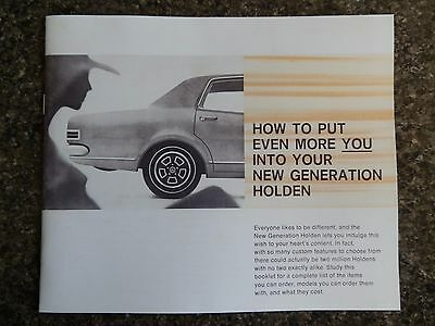 1968 Holden Hk Accessories Sales Brochure  100% Guarantee