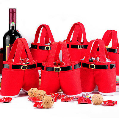 Cute Christmas Santa Pants Candy Bag Gifts Storage Pouch Party Decor