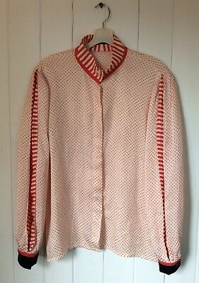 Vintage Louis Feraud Polka Dot Silk Blouse Cream & Red Pleated Sleeve Size M 10