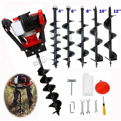 "One man 56cc 2.3HP Gas Post Planting Soil Hole Digger 4"" 6"" 8"" 10""12'' Auger Bit"