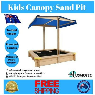 Kids Canopy Sand Pit Wooden Sandpit Toy Box Outdoor Play Set Children Large Seat
