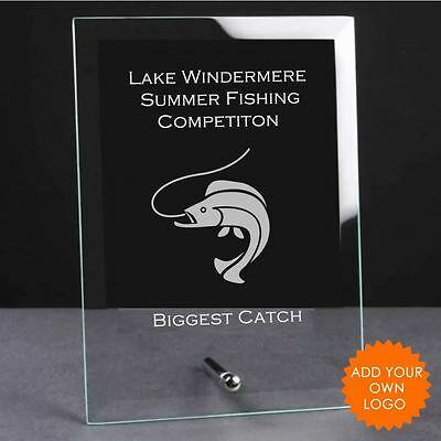 Personalised Fishing Glass Plaque Trophy Award - Engraved Fishing Trophies