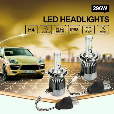 296W Philips H4 LED Headlights Kit High Low Beam Bulbs Globes vs Halogen Xenon