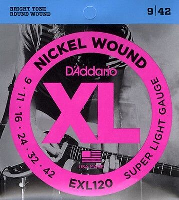 D'Addario EXL120 Electric Guitar Strings 9-42 Super Light Gauge Full Set
