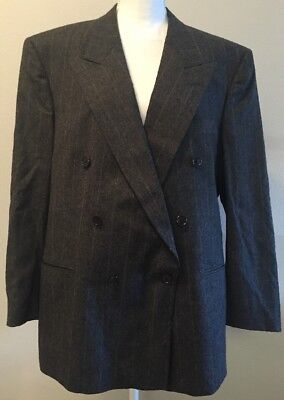 Christian Dior Mens Vintage Union Made Virgin Wool Gray Pinstripe Suit