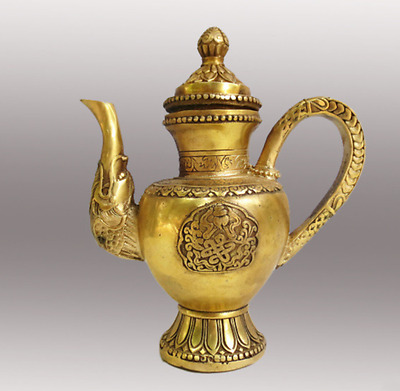 Marked old Chinese Brass fengshui dragon beast statue Wine TeaPot Flagon