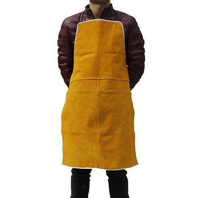 Heat Resistant Safety Apron Welding Melting Refining Cowhide Leather Orange
