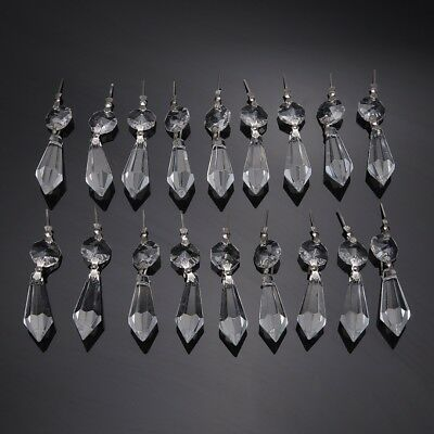20pcs 38mm DIY Clear Chandelier Glass Crystal Lamp Prisms Parts Drops Pendants