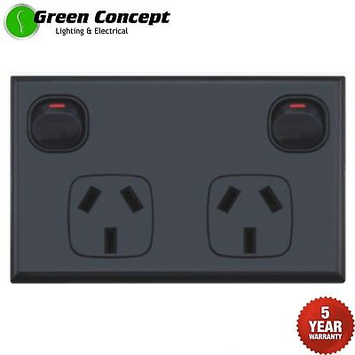 NEW Black Double Power Point Two Gang Socket Outlet Powerpoint Standard