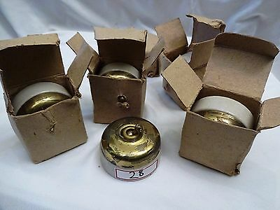 VINTAGE ELECTRIC SWITCH VITREOUS 5 Pc LOT INDIA ANTIQUE BRASS & CERAMIC 5AM #28