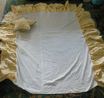 Beautiful Yellow and Blue Dust Ruffle and matching Star Pillow