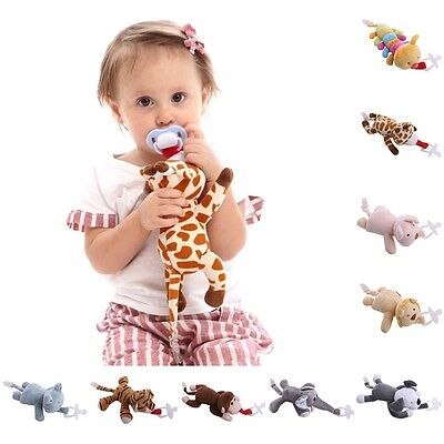 Baby Infant Dummy Pacifier Chain Clip Animal Toy Plush Soother Nipples Holder R