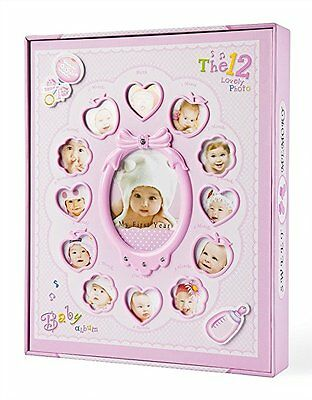 "Baby Photo Album Book For Girls Holds 240 4x6 Photos ""My First Year"" with Box"