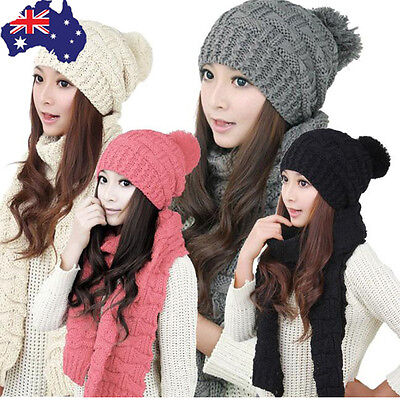Fashion Womens Solid Winter Warm Woolen Knitted Hood Scarf Shawl Caps Hats Suit