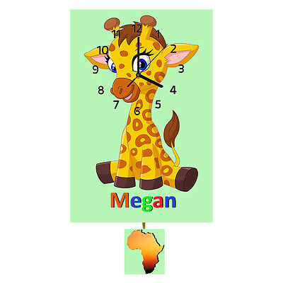 Personalised Giraffe Clock, Wall Clock, Pendulum Clock, Childrens Clock, Gifts