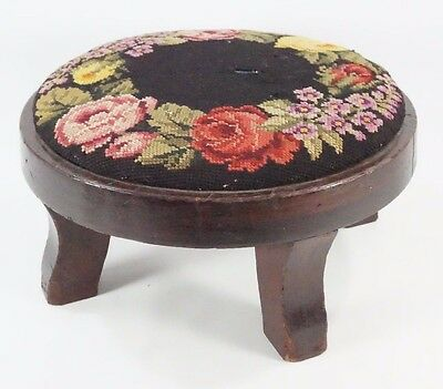 Vintage ROUND Needlepoint Footstool Sturdy Needed Recovering