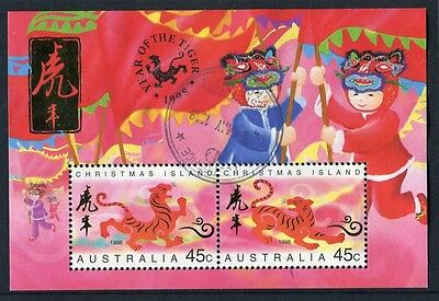 1998 Christmas Island Year Of The Tiger Mini Sheet Fine Postal Used