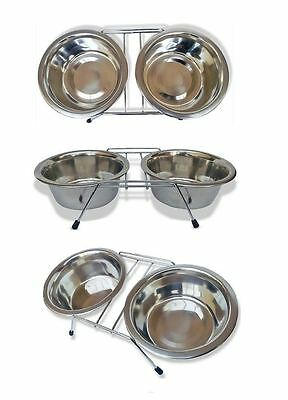 New Stainless Steel Non Slip Dog/cat Feeding Bowls Stand Dishwasher Double Diner