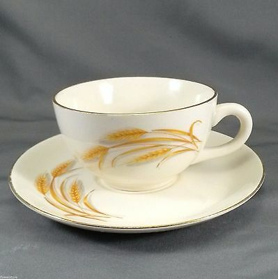 Homer Laughlin Golden Wheat Tea Cup and Saucer Set 50's Cream with 22K Gold Trim