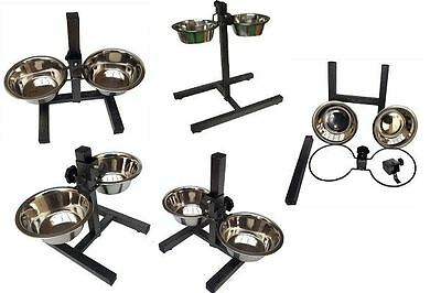 New Double Stainless Steel Bowls Set Adjustable Height Stand Pet Dog Food Water