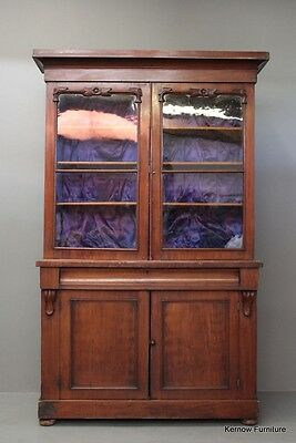 Antique Victorian Glazed Mahogany Bookcase Cabinet Dresser