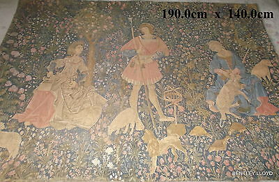 Vintage French Goeblin Aubusson Style Medieval Tapestry