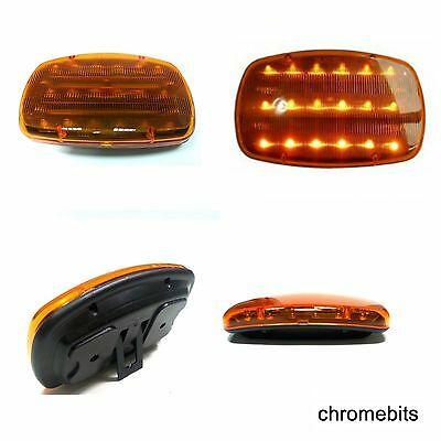 12V Battery Operated Amber 16 LED Beacon Flashing Light Warning Magnetic Mount