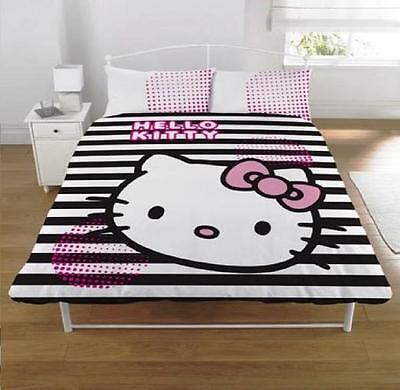 Hello Kitty Graphic Black and White Stripe Duvet Set Double Bed Quilt Cover Set
