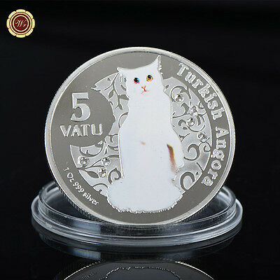 WR Vanuatu 5 Vatu Colored Turkish Angora Silver Collector Coin Anniversary Gifts