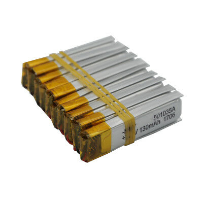 10pcs  3.7V 130 mAh Polymer Li battery LiPo For GPS Bluetooth pen Sat nav 501035