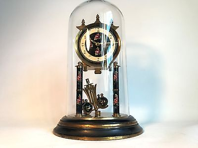 Large Antique German 400 Day Anniversary Clock Early 1900 - With Glass Dome