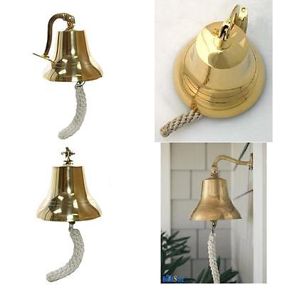 Vintage Ship Bell Antique Nautical Brass Marine Boat Home Decor Door Solid Bells