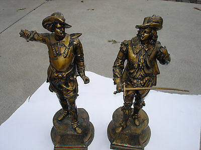 Antique Old Pair Of  Large Mixed Metal Statues Don Juan Don Cesar Minor Damage